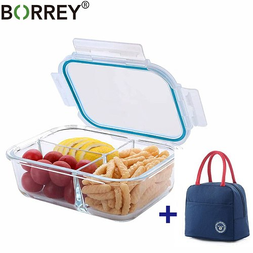BORREY Lunch Box Glass Microwave Rectangle Glass Lunch Box With Thermal Bag Compartment Food Container Storage Food Bento Box