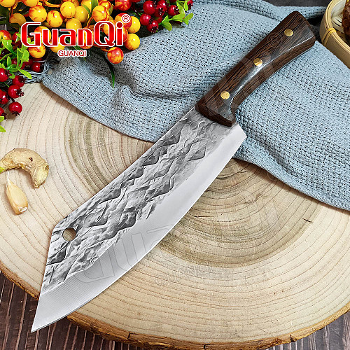 8 In Handmade Forged Kitchen Meat Cleaver Stainless Steel Chef Knife Hammer Butcher Meat Chopping Knife High Carbon Steel Knife