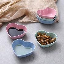 Cute Love Heart Shape Wheat Straw Bowl Vinegar Seasoning Solid Soybean Dish Sauce Salt Snack Small Plate Kitchen Supplies