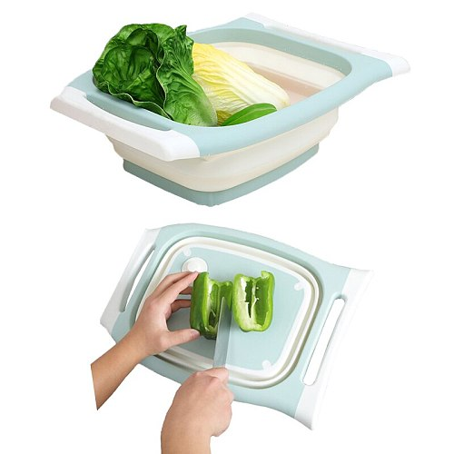 3 In1 Folding Cutting Board Sink Chopping Block With Foldable Drain Basket Washing Vegetables Fruit Storage Box Kitchen Tool