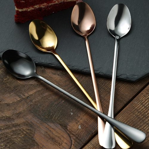 1Pcs Long Handle Spoons Oval Stainless Steel Dessert Ice Cream Scoop Milk Coffee Stiring Spoon for Mug Gift Flatware Accessories