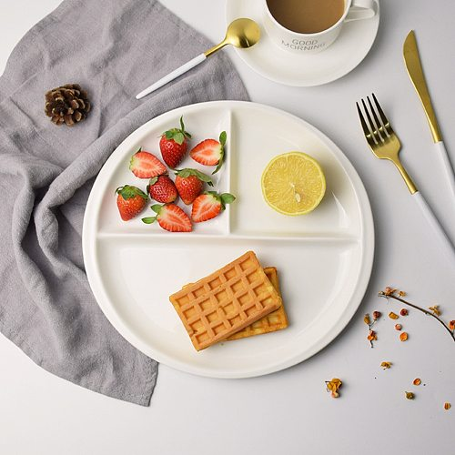 10 Inch Bone China Plate Simple Porcelain Plate Three Compartments Breakfast Steak Round Ceramic Tableware Home Decor
