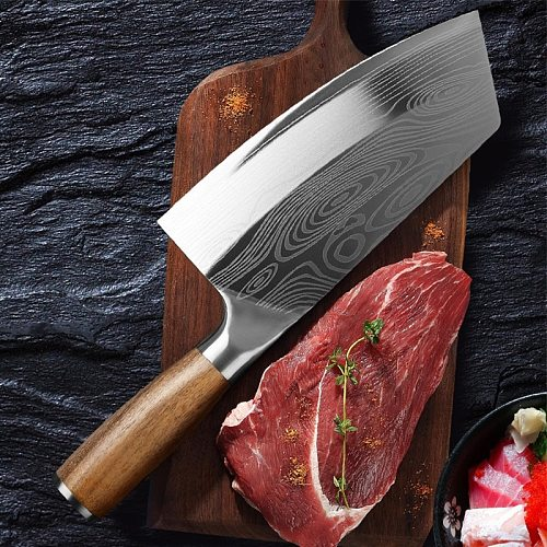 7.5 Inch Damascus Kitchen Knife Chinese Chef Knife Stainless Steel Butcher Knife Meat Cleaver with Wooden Handle