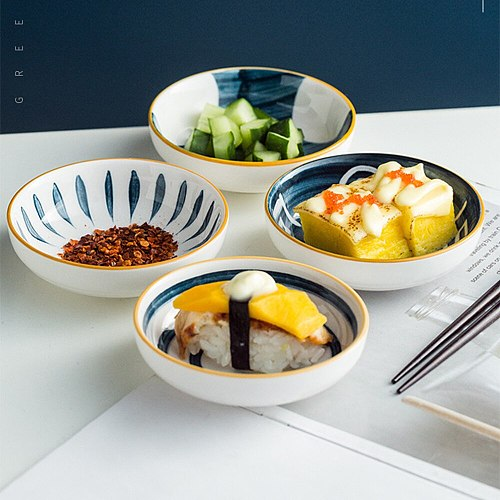4 inch Ceramic Tableware Glaze Sushi Sauce Dish Seasoning Mix Display Vinegar Jam Tableware Kitchen Gravy Boat Dinnerware Gift