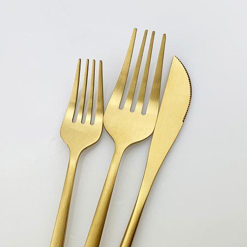 24Pcs Gold Matte Cutlery Set Stainless Steel Dinnerware Set Knife Fork Spoon SilverwareTableware Set  Kitchen Flatware