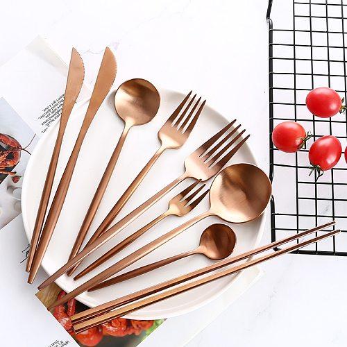 Rose Gold Cutlery Set Butter Knives Chopstick Steak Knife Fork Coffee Spoon Teaspoon Home Party Travel Wedding Noble Tableware