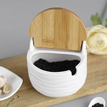 Natural Ceramic Jar Sugar Bowl Spice Container Kitchen Storage Sets With Reversible Bamboo Cover And Spoon For Kitchen Buffets