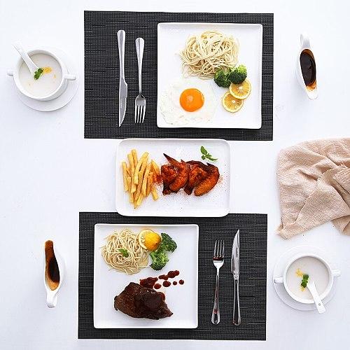 Minimalist Square Plate Sets Solid Color Practical Ceramic Dinner Plate Sets Modern Exquisite Borden Servies Tableware DK50PS