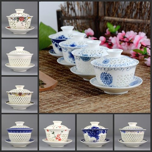 on sales Chinese tureen porcelain cup bowl handpainted hollow-out design gaiwan ceramic covered bowls cup saucer with lid new
