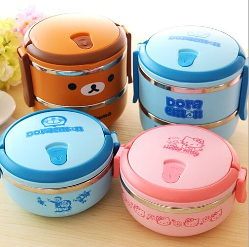 2 Layers Thermal Lunch Box for Kids Thermos Food Container Stainless Steel Insulation Bento Lunchbox Storage Dinnerware Sets
