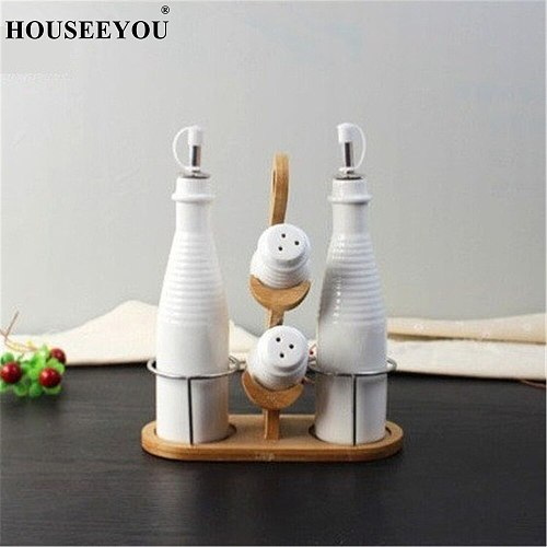 5Pcs/lot Creative Ceramic Seasoning Box Oil Bottle Container Gravy Boats Kitchen Dining Tools Gadgets Table Utensil Accessories