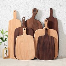 Kitchen Chopping Board With Handle Wood Food Plate Pizza Bread Fruit Hangable Cutting Board Durable Non-Slip Home Accessories 1P