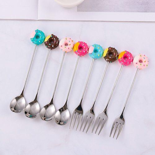 Mini Dessert Spoon Stainless Steel Fork Spoon Ice Cream Coffee Stirring Spoons Teaspoon Donut Fruit Fork Kitchen Flatware