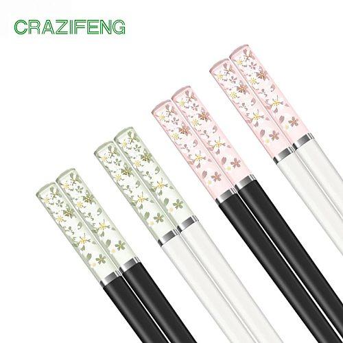 Chinese Chopsticks Mildew Proof 24cm Sakura Amber Glass Fiber High Temperature Cookin Sushi Stick for Home/ Restaurant Tableware