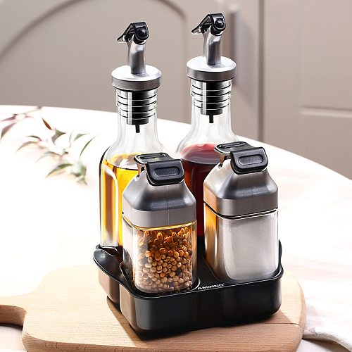 Set of 5 Glass Seasoning Boxes and Holder Dustproof Visible Spice Can Salt Pepper Shaker Pot Oil Bottle Gravy Boat Barbecue