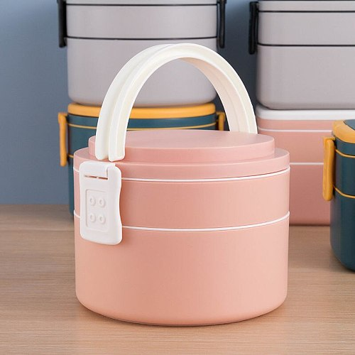 1100ml Portable 2 Layer Healthy Lunch Box Food Container Microwave Oven Lunch Bento Boxes With Cutlery Lunchbox