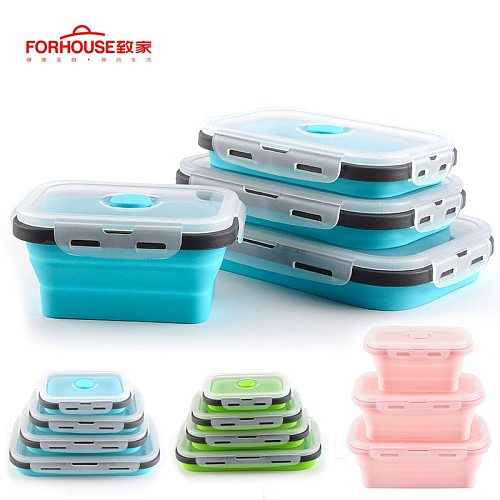 Silicone Collapsible Lunch Box Food Storage Container Bento BPA Free Microwavable Portable Picnic Camping Outdoor Free Shipping