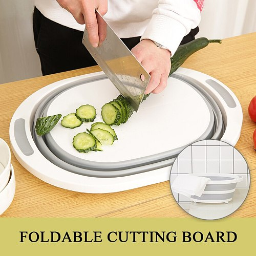 Multifunction Round Foldable Kitchen Chopping Blocks Cutting Board Washing Basin Silicone Chopping Board Kitchen Organizer