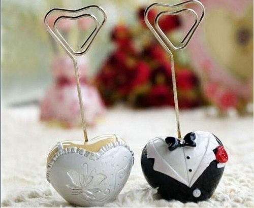 Free Shipping 200pcs/lot =100 pairs/lot New Style Bride and Groom Heart Shaped Place Card Holder Wedding Favor
