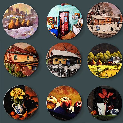 European Style Wall Plate David Croitor Paintings Decorative Plate Home Living Room Restaurant Wall Background Art Display Plate