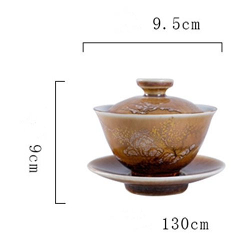 Antique Kiln GaiwanPorcelain Painted Gold Landscape Cover Pigmented Ceramic Kung Fu Tea Tureen Vintage Chinaware Tea Bowl