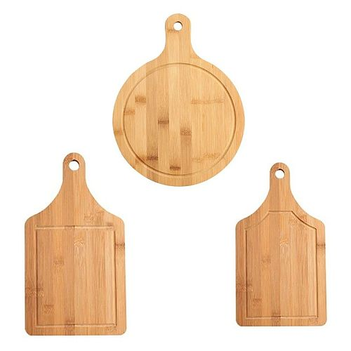 Wooden Chopping Board Fruit Pizza Bread Plate with Handle  Durable Hangable Cutting Board R9JC