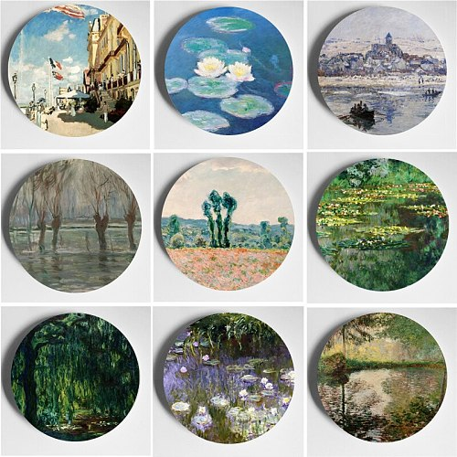 Oil Painting Master Monet Wall Plate Pure Handmade Ornament Home Bar Studio Hotel Achtergrond Display Decorative Plate