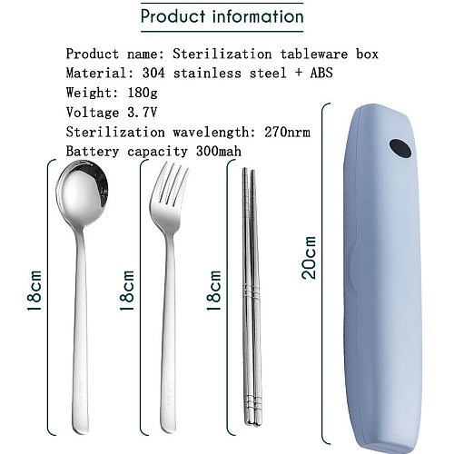 Portable Tableware Stainless Steel Spoon Fork Chopsticks Outdoor Travel Suit Toothbrush UV Dinnerware Disinfection Box