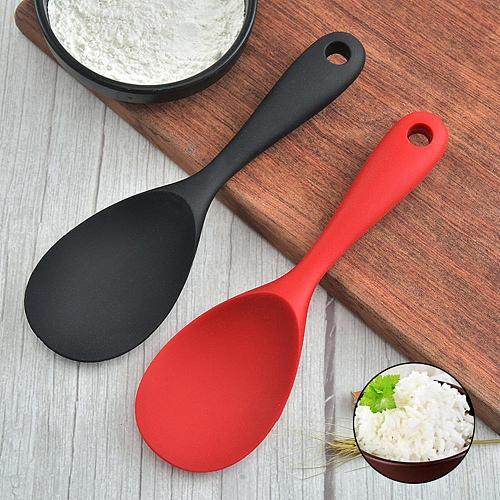 Home Use Large Silicone Long Handle Spoon High Grade Mixing Ladle Cooking Kitchen Soup Spoons Tableware Kitchen Accessories