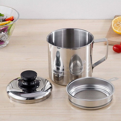1.2L Stainless Steel Oil Strainer Pot Container Jug Storage Can with filter Kitchen Dining Bar Tableware Gravy Boats