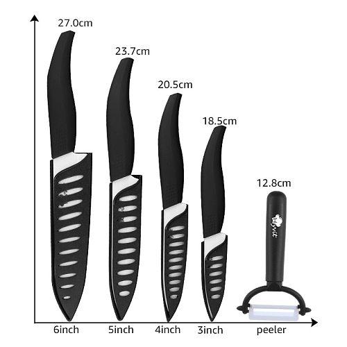 Ceramic Knife 3 4 5 inch + 6 inch Kitchen Knives Serrated Bread Set +Peeler Zirconia Black Blade Fruit Chef Knife Vege Cook Tool