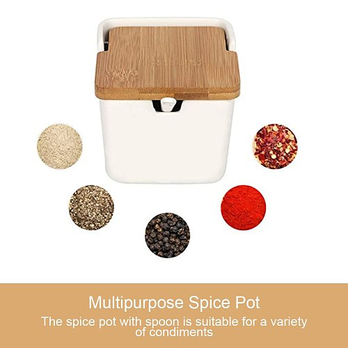 Ceramic Sucrier Pots Sugar Bowl Ceramic Condiment Jar Pot Salt Cellar Spice Container With Bamboo Lid Spoon For Counter White