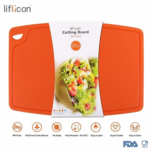 Liflicon Large Silicone Cutting Board Meat & Veggie Cut Prep Nonslip Flexible Chopping Boards Antimicrobial Thick Cutting Boards