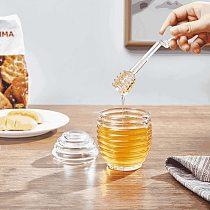 Acrylic Honey Jar with Stirring Dipper Honey Bottle Container Honey Storage Pot Lid Stirring Rod Stick Kitchen Bread Breakfast