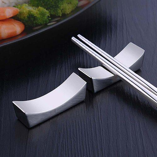 Chinese Chopsticks Holder 304 Stainless Steel Japanese Korea Food Sticks Rest Stand Metal Reusable Knife Spoon Kitchen Tableware