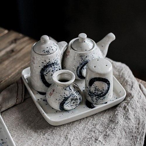 Japanese Retro Ceramic Seasoning Jar Creative Soy Sauce Bottle Toothpick Holder Pepper Bottle Restaurant Gravy Boat Condiment