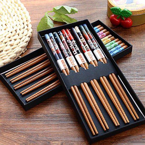 5 Pairs Of Household Chopsticks Wooden Chopsticks Portable Reusable Tableware Sushi Tool Dumpling Tools Natural Bamboo Chopstick