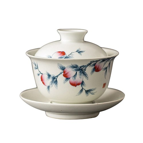 Handmade Tea Bowl Ceramic Pottery Tea Tureen Peach Teaware Master Cup Japanese Cups Drinkware Home Decor Crafts Birthday Gift