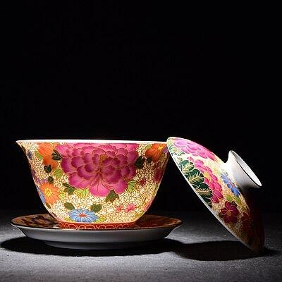 Jingdezhen Ceramic Tea Tureen Enamel Gold Wire Peony Cover Bowl Chinese KungFu Gaiwan Tea Cup Tea Bowl Teaware Free Shiping