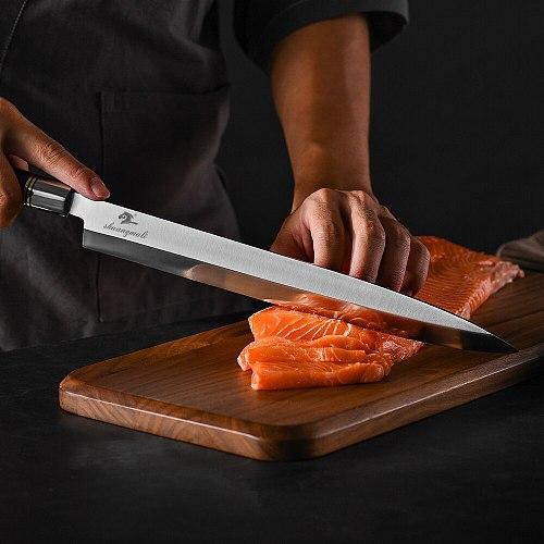 12 Inch Sashimi Chef Knife Germany 1.4116 Steel Filleting Knives Slicing Salmon Cutting Fish Japanese Kitchen Sushi Knife