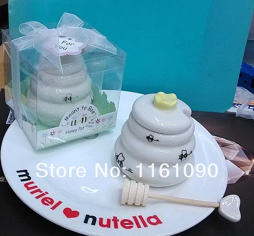 Free shipping Meant to Bee Ceramic Honey Pot+ 10SETLot wedding bridal shower favor gifts