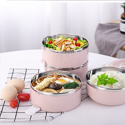 Multi--Layer Lunch Box Portable Stainless Steel Thermal For Food Portable Lunch Box For Kids Picnic Leak-Proof School Tableware