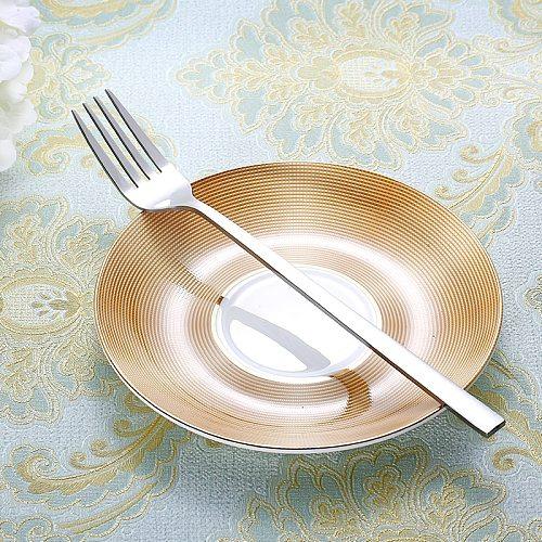 3pcs Stainless Steel Dinner Fork Long Handle Table Forks set   Korean Cutlery Four Tine Salad Dessert Fruit Forks Kitchen 8.5''