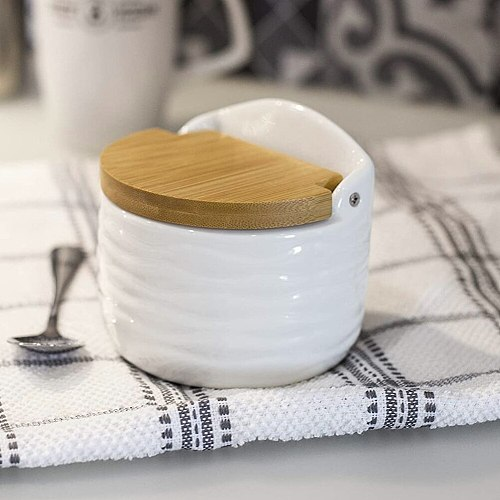 Ceramic Condiment Sugar Bowl Pot Jar Salt Cellar Container With Reversible Bamboo Lid Spoon For Spice Kitchen Organizer Tools