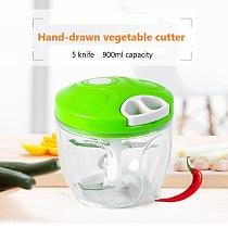 900ML Large Capacity Manual Vegetable Cutter Meat Grinder Mincing Machine Garlic Shredder Stable Stainless Steel Blade Chopper