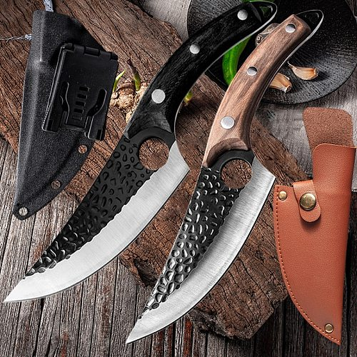 Stainless Steel Kitchen Boning Knife Handmade Fishing Knife Meat Cleaver Outdoor Cooking Cutter Butcher knife Cutterc