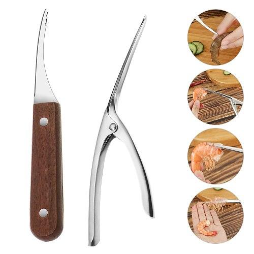 New Stainless Steel Shrimp Peeler Portable Shrimp Cleaner Knife Prawn Shell Peeler Crayfish Peeling Tools Kitchen Accessories