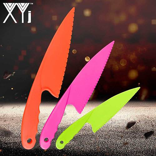 XYj Plastic Kitchen Knife Toddlers Cooking Knives In 3 Sizes And Colors,BPA Free Plastic,Safe Cutting For Bread Lettuce Salad