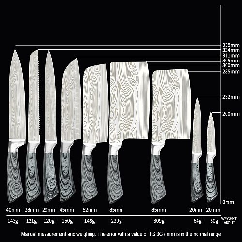 XYj Kitchen Stainless Steel Knives Set 8'' 7'' 6.5'' 6'' 5'' 3.5'' Chef Slicing Bread Chopping Santoku Utility Paring Knife Set