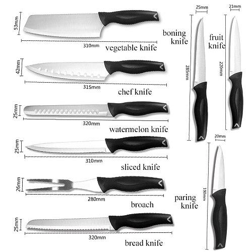 9Pcs Chef Knife Set Kitchen Knives Stainless Steel Knife Set Butcher Meat Cleaver Boning Fruit Knife Bread Cutter with Nylon Bag